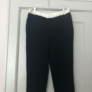 Women's black silk, wool & gauze pants